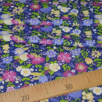Ситец плательный рис 20034-1 цветы синий