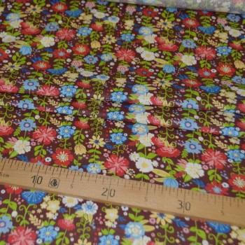 Ситец плательный рис 20034-2 цветы коричневый