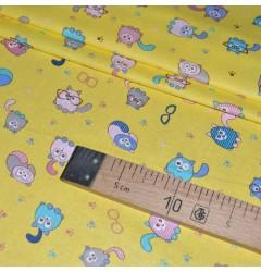 Ситец Кошки  желтый шир 95 см