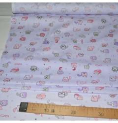 Ситец Кошки фиолетовый шир 95 см