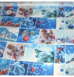 """Рогожка """"Новогодняя-2"""" синяя"""