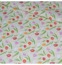 "Бязь ""Тюльпаны"" светлая шир 150 см"