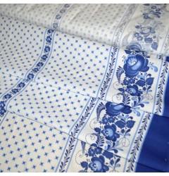 Ткань рогожка Гжель рис 4678
