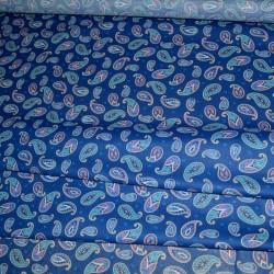 Ситец набивной Перья синий 20035-1