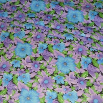 Ситец набивной Цветы фиолетовый 7224-3