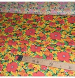 Ситец набивной Цветы желто-красные 7224-2