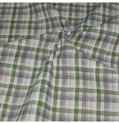 Лен Клетка зеленая с черным рубашечная