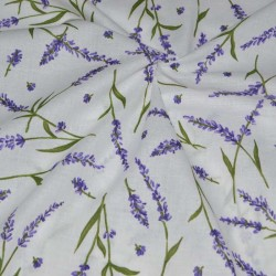 Лен ткань Лаванда белая 150 см