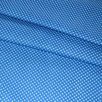 Бязь набивная Мелкий горошек синяя