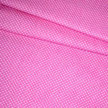 Бязь набивная Мелкий горошек розовая