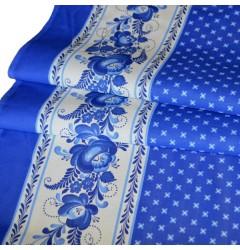 Ткань рогожка Гжель рис 4677