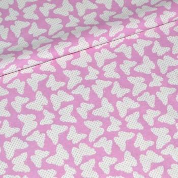 Фланель Бабочки розовая шир 150 см.